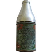 Vintage Aluminum Paxto Foot Powder Bottle With Nice Motif Made In USA