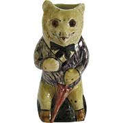 Figural Majolica Glazed Pottery Bear Pitcher With Umbrella And Glass Eyes By Old London Ware