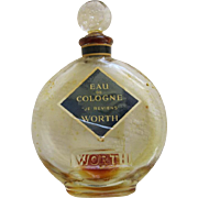 Vintage Glass Perfume Bottle By Worth Of New York Eau De Cologne Je Rievens