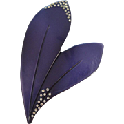 Galalith Purple Double Leaf Pin With Swarovski Crystals By The French Co Woloch Circa 1939