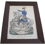 Original Framed Print By Currier & Ives Of Major General Winfield Scott On His Horse