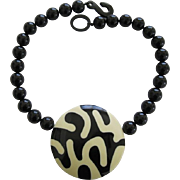 French Designed Chunky Disc Necklace In Black And White