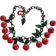 French Designed Resin Dangling Cherry Necklace