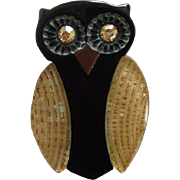 French Designed Resin Lucite Sparkling Owl Pin By JMP