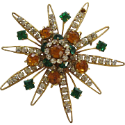 Vintage 1930's 1940's Costume Starburst Style Pin With Rhinestones