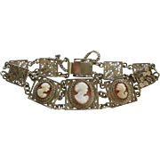 Vintage Silver Filigree With Cameo's Bracelet
