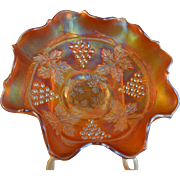 Fenton Marigold Carnival Glass Grape & Cable Bowl