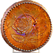 Vintage Imperial Luster Rose Carnival Glass Rose Bowl in Amber measuring approximately 5""