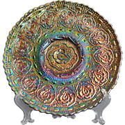 """Fenton Persian Medallion with Bearded Berry backpattern Carnival Glass 9"""" Plate in amethy"""