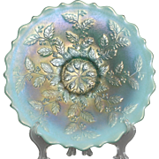 """Fenton Carnival Glass Aqua Opal Plate in the Holly Patern measuring approximately 9"""" acro"""