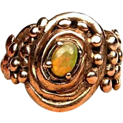 Opal Ring Made in Solid Bronze by Gala Olsen-Size 8,5