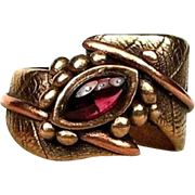 Garnet Ring Made in Solid Bronze by Gala Olsen-Size 7