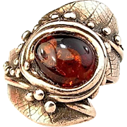 Baltic Amber Ring Made in Solid Bronze by Gala Olsen-Size 7