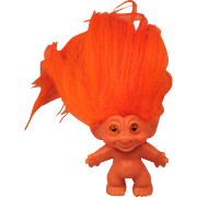 Vintage Scandia House Troll Orange Hair and Gold Spiral Eyes