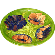 """Moorcroft Made in England Anemone 10 1/2"""" Plate"""