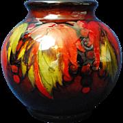 """Moorcroft Flambe large leaf and berry bulbous vase   8"""""""