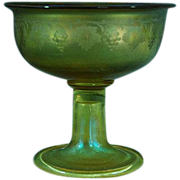 LCT Tiffany gold iridescent glass compote etched grape and leaves design signed