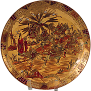 Antique Japanese Satsuma Dai Nippon Meiji Period Samurai Warriors Plate