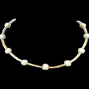 "14 karat Yellow Gold & 6.5 mm Cultured Pearls 16"" Choker"
