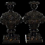 Antique Bronze 19th Century Candlesticks