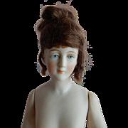 LOVELY Kestner Wigged Bisque Half Doll c. 1880's-90's