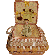 "CUTE 5"" German Child Doll in Intricately Woven Display/Sewing Basket"