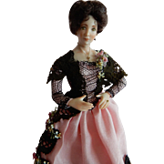"""LOVELY 1/12"""" Scale Artist Original Victorian Style Lady of the House Dollhouse Doll"""