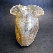 Dugan Venetian Iridescent Canary Yellow Vase with Ribboned Rim