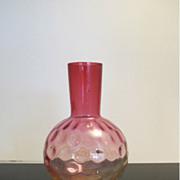 Vintage Amberina Thumbprint Art Glass Vase