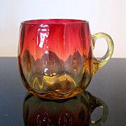 Antique Amberina Art Glass Punch Cup