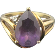 SALE Teardrop Amethyst and Diamond 10k Gold Ring