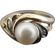 Sweet 10k Gold and Cultured Pearl Vintage Ring with Wave Pattern