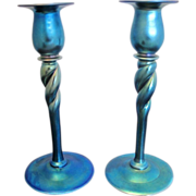 Steuben Aurene Set of 2 Blue Iridescent Twist Candlestick Candle Holders