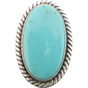 Large Oval Turquoise and Sterling Silver Ring