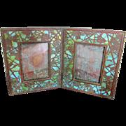 Antique TIFFANY Favrile Grapevine Pattern Bronze & Slag Glass Double Photograph Frame
