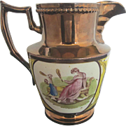 Playful Victorian Copper Luster Pitcher w/Enamel Mother & Child Gazing in Mirror