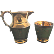 Emerald Green Enamel Copper Luster Leaf Floral Design Cup & Pitcher Set