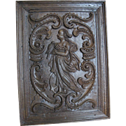 Antique 17th Century Carved English Oak Figural Panel Woman w/Bird THE VIRTUES