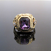 SALE Antique Filigree Amethyst Ring with Diamond Accents