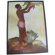 Breadfruit Boy Hawaiian Greetings Aquatint Art c1942 by John Melville Kelly