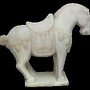 Antique Alabaster Model of Tang Dynasty Horse Sculpture