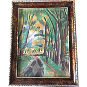 Original 1924 Fauvist Paris Landscape Watercolor Painting by Raoul Dufy