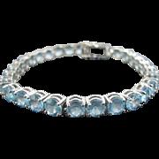 Classic & Sweet Blue Topaz 14k White Gold Tennis Bracelet