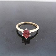 Vintage Pink Tourmaline 14k Gold Solitaire Ring