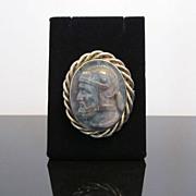 SALE Vintage Granite Warrior Cameo Brooch in Gold