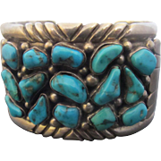 SALE Signed GF Native American Chunky Sterling Silver Turquoise Cluster Cuff Bracelet