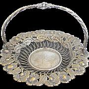Antique Schiffers & Co Silverplate Bridal Basket with Ornate Crane & Flower Pattern