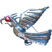 Peruvian Sterling Silver and 14k Gold Hawk Bird Brooch by Chavez