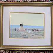 Painted Teepee Native American Art Gouache Watercolor Painting by John Jarvis