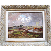 "Original Signed Impressionistic Oil Painting by Miles Evergood c1916 ""Blustery Day"""